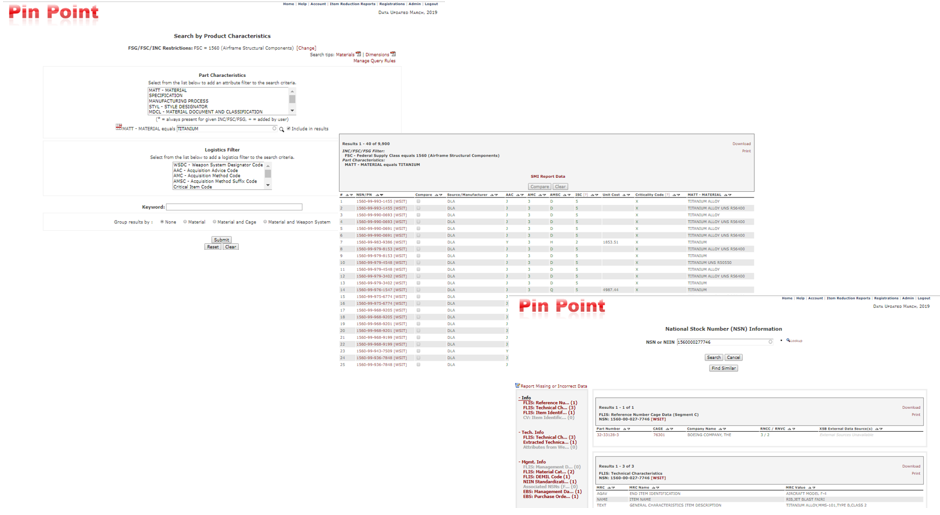 Pin Point user interface